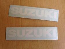 Suzuki Motorbike Motorcycle Fairings Tank Stickers Decals x2 @ 100 x 15mm White