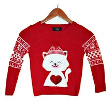 IT'S OUR TIME Girls Knit Sweater Size Large (6) Cute Kitty w/ Hat, Sequin Heart