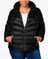Michael Kors Women's 1x Plus Size Packable Hooded Puffer Coat, Black, $240, NwT