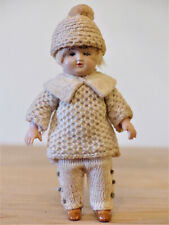 Antique Marked Germany Celluloid Jointed Miniature Boy Doll Crochet Knit House