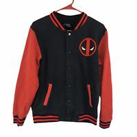 Marvel Mens Black and Red Deadpool Varsity Jacket Small