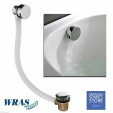 BATHROOM ROUND OVERFLOW FILLER WITH CLICKERPLUG  WASTE CHROME BATH EXOFILL