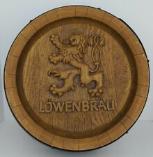 Vtg Lowenbrau Beer Lion Whiskey Keg Barrel End Plastic Bar Room Sign Man Cave