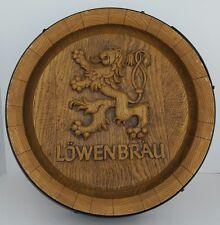 Vtg Lowenbrau Beer Lion Whiskey Keg Barrel End Plastic Bar Room Sign Man Cave