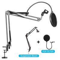 Microphone Stand Desk Suspension Boom Arm Desktop Mic Holder Mount Pop Filter AU