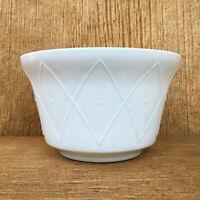 Vintage Anchor Hocking Fire King White Vitrock Milk Glass Diamond Dot Bowl RARE