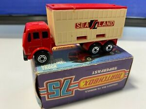 VINTAGE MATCHBOX LESNEY #42 MERCEDES CONTAINER TRUCK RED NICE NEVER PLAY WITH