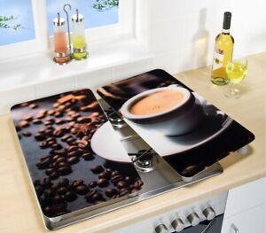 2x Herdabdeckplatte Kaffee Espresso Tasse WENKO Herdplatte Motivplatte Abdeckung