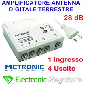 Amplificatore TV di linea da interno alimentato 28db 4 uscite METRONIC 414114