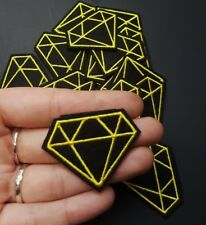 Small Black & Yellow Diamond Line Geometric Iron-On/Sew-On Embroidered Patch