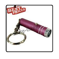 Pink Mini 1 LED Handheld Bright Flashlight Lamp Torch with Keychain +Batteries