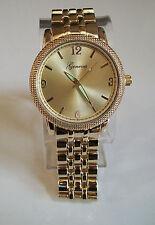 Men's designer style  gold finish dressy  metal bracelet fashion  watch