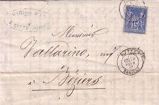 HERAULT - CETTE - LE 10-2-1881 / 15c TYPE SAGE - ENTETE VINS DU MIDI MARIGO A C