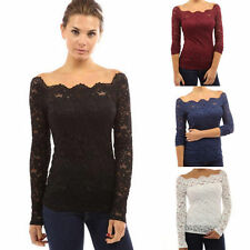 UK Womens Long Sleeve Off shoulder Lace Casual Slim T-Shirt Ladies Blouse Tops