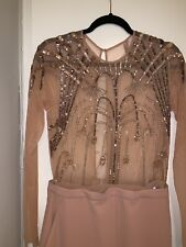 Oscar del la Renta Sequins Beaded Tull Beige Pink Jumpsuit Dress Gown 10-12