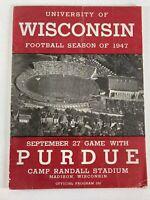 Wisconsin Badgers vs Purdue Official Football Game Program Sept. 27, 1947