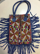 Vintage Fringe Leather Handbag Indian Embroidered Boho Tribal Hobo Bag For Women