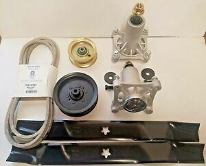 """Sears Craftsman DYS 4500 42"""" Mower Deck Rebuild Kit Spindles Blades Belt Idlers"""