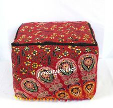 """18"""" Large Indian Mandala Cotton Square Ottoman Pouf Cover Footstool Seating *o"""