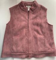 Women's Pendelton Full Zip Purple Faux Suede Vest W/ Faux Fur Lining Size XL
