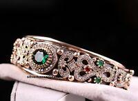 Turkish Handmade Jewelry Sterling Silver 925 Green Emerald Bracelet Bangle Cuff