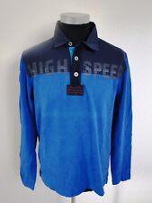 Jacky ICKX Polo-Shirt Herren Langarm Blau Gemustert Baumwolle Gr. M