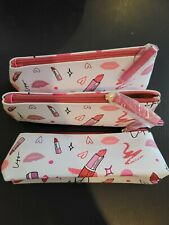 3 Estee Lauder Pink/White Printed Cosmetic Makeup Bag/Pencil Case