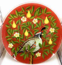 "RARE Pilgrim Glass Partridge In A Pear Tree Christmas Plate 13"" Handmade"