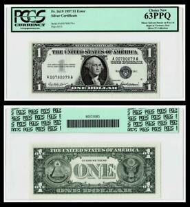Minor Solvent Smear on Face Error Fr.1619 $1 1957 Silver Certificate. PCGS 63PPQ