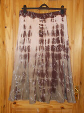 PER UNA M&S brown dusky pink tie-dyed midi calf long flare riding skirt 14L 42