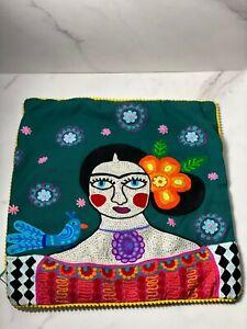 Karma Living '' Frida Kahlo Blue Bird'' Pillow Cover 18''x18''