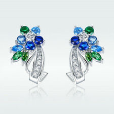 Latest Hot Stud Dangle Earrings Platinum Plated With AAA Blue & Green CZ Jewelry