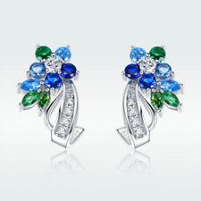 Fashion Aaa Cz 925 Silver Plated Blue & Green Flower Ear Stud Earrings For Women