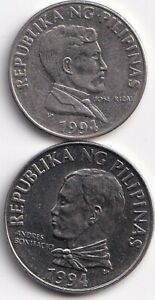 2 DIFFERENT COINS from the PHILIPPINES - 1 & 2 PISOS (BOTH DATING 1994).
