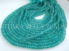 "6.5"" half strand aqua blue APATITE faceted gem stone rondelle beads 5mm"