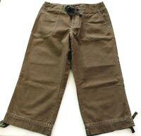 Women's Size 4 New Eddie Bauer Pants Crop Capri Brown Cotton Low Rise Inseam 20
