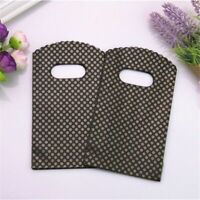 Mini Plastic Gift Bags With Handles Simple Black Small Gold Dot Packaging 50pcs