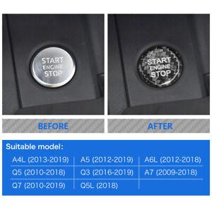 Carbon Fiber Engine Start Push Button Cover Trim For Audi A4 A5 A6 A7 Q5 Q3 Q7