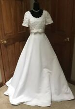 Lady Eleanor Short Sleeve Wedding Dress Gown Beaded Train Size 10