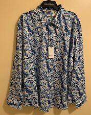 $198 Robert Graham Dellwood  Print Classic Fit Blue/White Casual Men's Shirt,4XL