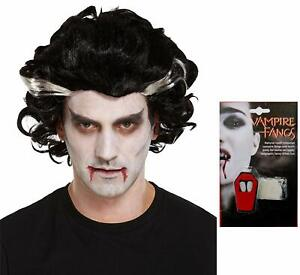 NEW ADULT VAMPIRE WIG & DRACULA FAKE FANGS HALLOWEEN FANCY DRESS PARTY SCARY SET