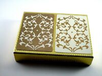 Vintage Crown Plastic Coated Playing Cards Double Deck White & Gold Filigree USA
