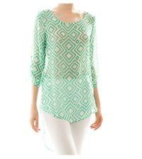 Womens Mint Green Sheer Chiffon Tunic Top Blouse Size Medium