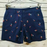 St. Johns Bay Womens Shorts Blue Red Cherry Stretch Embroidered Mid Rise 6 New