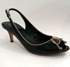 COLE HAAN AIR TALIA BLACK PATENT LEATHER OPEN-TOE SLINGBACK PUMPS SIZE 9 B