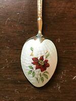 Vintage Sterling Silver Gilt Teaspoon with Guilloche Enamel Flower Decoration