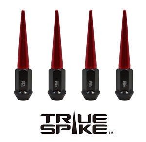 """20 TRUE SPIKE 112MM 9/16"""" FORGED STEEL EXTENDED SPIKED LUG NUTS RED"""