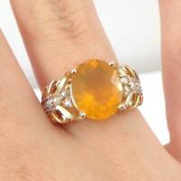 Mexican Fire Opal & 0.25ctw Accents W/Diamond 14K Yellow Gold Ring Size 6.5 LHI2