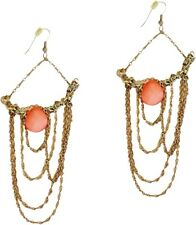 Coral Blush Peach & Gold Chain Chandelier Earrings Statement Formal Elegant Prom