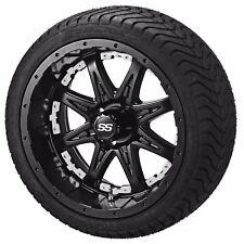 """4 Golf Cart 215/35-12 Tire on 12"""" Matte Black Revenge Wheel W/White Inserts"""